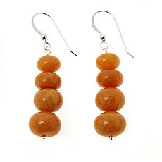 Jay King Sterling Silver Butterscotch Amber Bead Drop Earrings