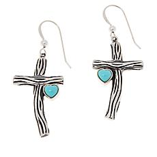 Jay King Sterling Silver Campitos Turquoise Cross Earrings
