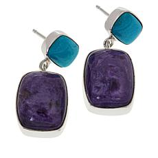Jay King Sterling Silver Charoite and Turquoise Drop Earrings