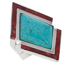 Jay King Sterling Silver Chrysocolla and Red Coral Ring