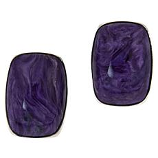 Jay King Sterling Silver Cushion-Cut Charoite Stud Earrings