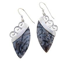 Jay King Sterling Silver Dendritic Sage Chalcedony Drop Earrings