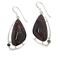 Jay King Sterling Silver Devil's Gate Juniper Wood and Quartz Earrings