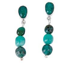 Jay King Sterling Silver Emerald Drop Earrings