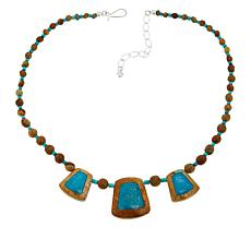 Jay King Sterling Silver Framed Turquoise Bead Necklace