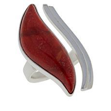 Jay King Sterling Silver Freeform Orange Coral Open Shank Ring