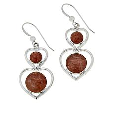 Jay King Sterling Silver Golden Sunstone Heart Drop Earrings