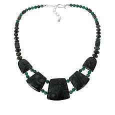 Jay King Sterling Silver Green Kabamba Stone and Green Quartz Necklace