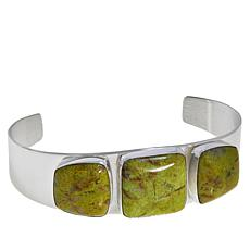 Jay King Sterling Silver Green Opal 3-Stone Cuff Bracelet