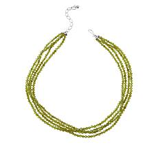 Jay King Sterling Silver Green Peridot Bead Four-Strand Necklace