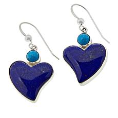 Jay King Sterling Silver Lapis and Turquoise Heart Drop Earrings
