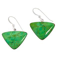Jay King Sterling Silver Lemon Lime Turquoise Triangle Drop Earrings