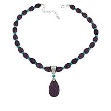Jay King Sterling Silver Lepidolite and Amazonite Pendant and Necklace