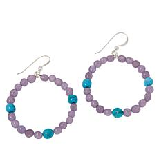 Jay King Sterling Silver Lepidolite and Turquoise Hoop Drop Earrings