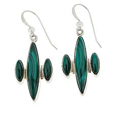Jay King Sterling Silver Marquise Malachite Drop Earrings