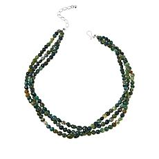 Jay King Sterling Silver Moss Green Agate 3-Strand Bead Necklace