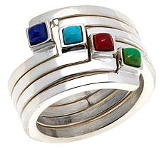 Jay King Sterling Silver Multi-Gemstone Stackable Bypass Ring Set