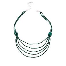 Jay King Sterling Silver Multi-Strand Malachite Bead Necklace