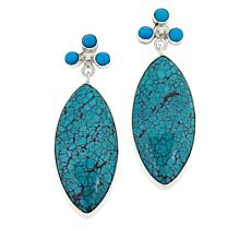 Jay King Sterling Silver Multi-Turquoise Marquise Drop Earrings