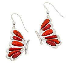 Jay King Sterling Silver Orange and Red Coral Butterfly Earrings