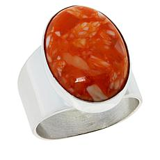 Jay King Sterling Silver Orange Spiny Oyster Shell Oval Ring