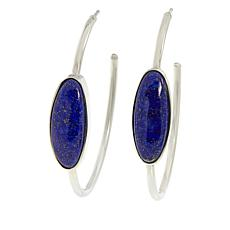 Jay King Sterling Silver Oval Gemstone Hoop Earrings