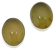 Jay King Sterling Silver Oval Moss Amber Stud Earrings
