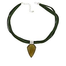Jay King Sterling Silver Pentagonal Moss Amber Pendant-Necklace