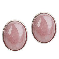 Jay King Sterling Silver Pink Rhodochrosite Button Earrings