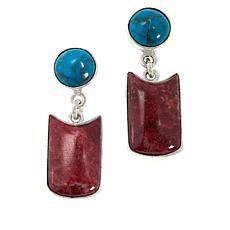 Jay King Sterling Silver Pink Thulite & Seven Peaks Turquoise Earrings