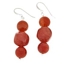 Jay King Sterling Silver Red Agate and Chalcedony Drop Earrings
