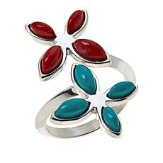 Jay King Sterling Silver Red Coral and Turquoise Floral Bypass Ring