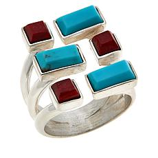 Jay King Sterling Silver Red Coral and Turquoise Geometric Ring