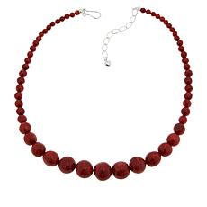 Jay King Sterling Silver Red Coral Graduated Bead Necklace