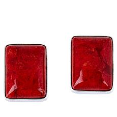 Jay King Sterling Silver Red Coral Rectangular Stud Earrings