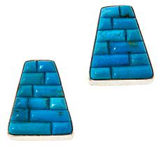 Jay King Sterling Silver Royal Blue Turquoise Inlay Earrings