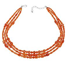 Jay King Sterling Silver Salmon Coral Bead 3-Strand Necklace