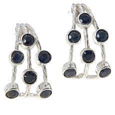 Jay King Sterling Silver Sapphire Multi-Stone J-Hoop Earrings