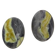 Jay King Sterling Silver Serpentine and Aguite Oval Earrings
