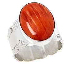 Jay King Sterling Silver Spiny Oyster Shell Oval Stone Ring