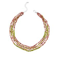 Jay King Sterling Silver Strawberry Quartz & Peridot 4-Strand Necklace