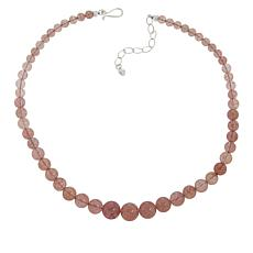 Jay King Sterling Silver Strawberry Quartz Graduated Bead Necklace