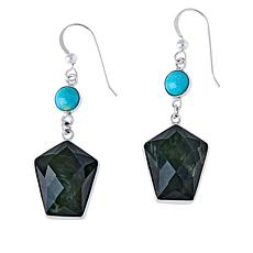 Jay King Sterling Silver Turquoise and Nephrite Jade Drop Earrings