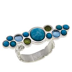 Jay King Sterling Silver Turquoise, Blue Topaz and Peridot Ring