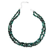 Jay King Sterling Silver Two-Strand Emerald Nugget Necklace