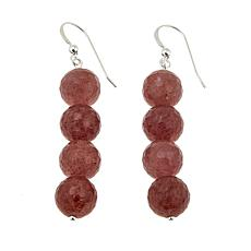 Jay King Strawberry Quartz Bead Drop Sterling Silver Earrings