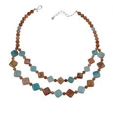 """Jay King Sunstone and Amazonite 18"""" Sterling Silver Necklace"""