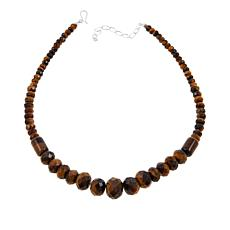 "Jay King Tiger's Eye Graduated Bead 18"" Sterling Silver Necklace"