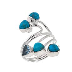 Jay King Turquoise and Blue Topaz Sterling Silver Bypass Ring