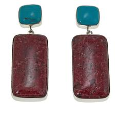 Jay King Turquoise and Pink Thulite Drop Sterling Silver Earrings